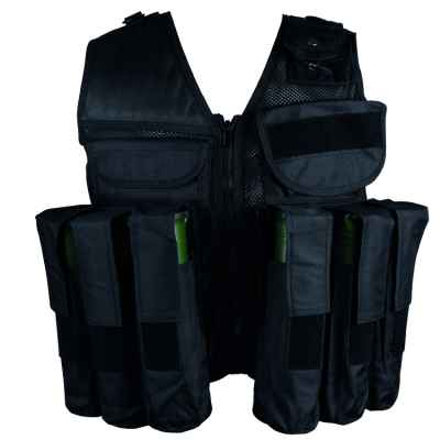 Gilet tactique de paintball 10 + 1 (noir) | Paintball Sports