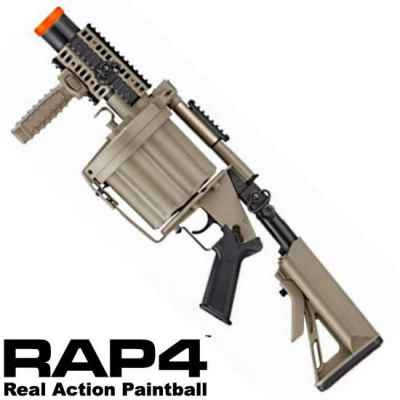 RAP4 ICS M203 Lanceur de Grenade à Tambour Paintball 40mm (Sable) | Paintball Sports