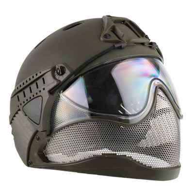 Casque WarQ Fullface Airsoft / Paintball (OLIV) | Paintball Sports